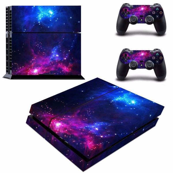 Galáxia azul estilo de pele de vinil adesivo decalque para sony playstation4 ps4 console e dois controladores de etiqueta do jogo