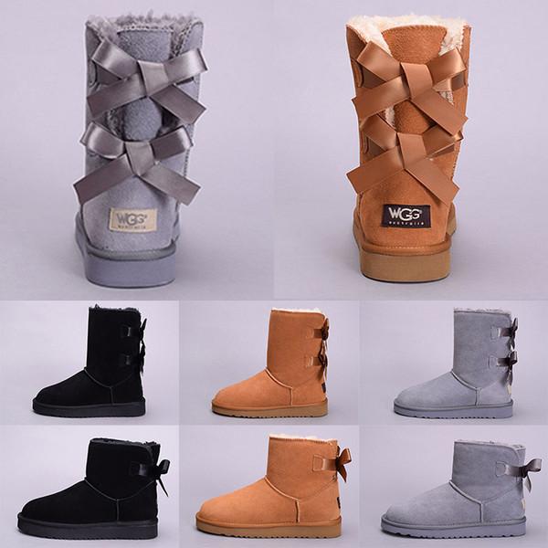 Ucuz WGG Kış Kar Kadınlar Boot Avustralya Uzun Boylu Kısa Diz Ayak Bileği Çizmeler Siyah Gri Lacivert Kestane Kız Lady Açık Ayakkabı Boyutu 5-10