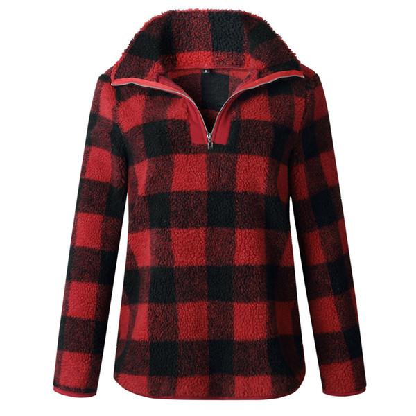 S/XL Large Size Fleece Plaid Pullover Coat Wholesale Blanks Warm Fleece Hoodies Women Sweatshirt Gift DOM1061156