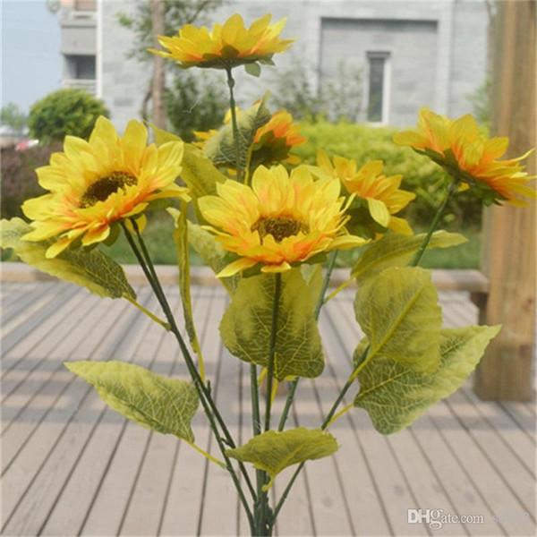Tournesol Fleur artificielle Mesa Bureau Mettre Fleurs Art Salon Décoration Simulation Fleurs De Mariée Mariée Bouquet De Mariage 7 5e gg