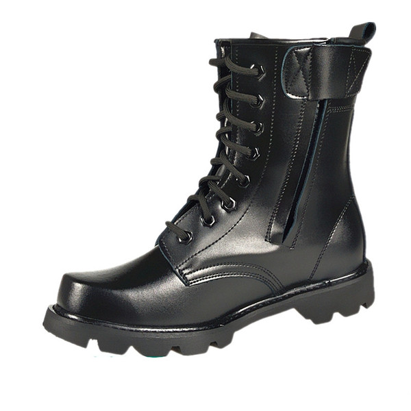 Large Size 36-46 Spring Men Military Boots Genuine Leather Steel Toe Shoes Lace Up Black Waterproof Work Boots Men Platform Motorcycle Boot