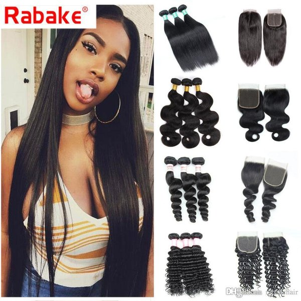 Human Hair Bundles with Closure Rabake Brazilian Malaysian India Peruvian Straight Body Loose Deep Wave Bundles with 4x4 Lace Closure