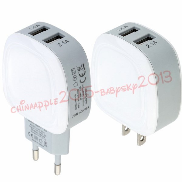 2 Puertos Eu 2.1A + 1.5A USB Adapter Dual usb puertos ac inicio de viaje cargador de pared para ipad iphone 7 8 x samsung s7 s8 s9 android phone mp3