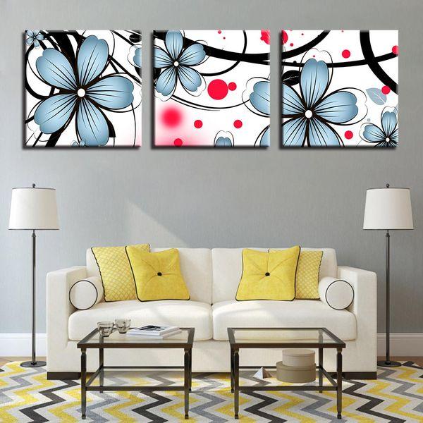 Leinwandbilder Rahmen Wohnzimmer Wohnkultur HD Kunstdrucke Blumen Poster 3  Stück Blau Catharanthus Roseus Gemälde Wandkunst