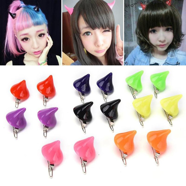 1 Pair Horror Gothic Cosplay Costume Hair Clips Small Demon OX Horn Halloween Hair Accessories Clip Pin Hairpins C3