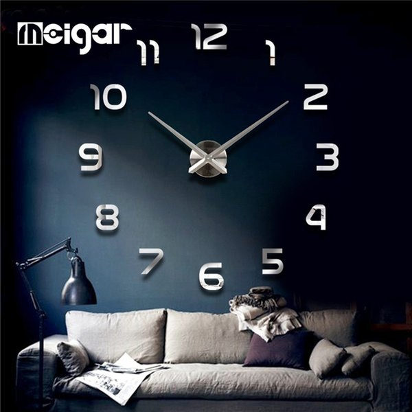 Meigar 3D Mirrors Wall Clock DIY Stickers Plane Surface Stickers Decals Murals Clock Luxury Art Clock Home Room DIY Decoration Y18102209