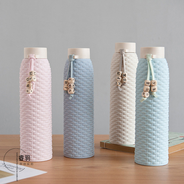 1Pcs High Quality New Fashion Glass Water Bottle 310ML Anti-Hot Imitation Rattan Portable Drink Water Bottle Girl Birthday Gift