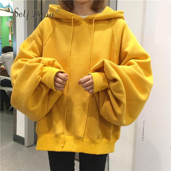 2018 Herbst Damen Schwarz Hoodie Plus Size Übergroßes Hoodie Gelb Hip Hop beschnitten Warm Fleece Weiblich Kapuzenpulli