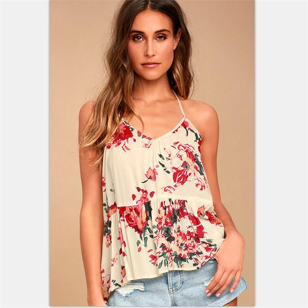2018 Sommer Frauen Tops Bluse Blumendruck Spaghetti Strap Schulterfrei Weibliche Shirts Sleeveless V-ausschnitt Chemise Blusa