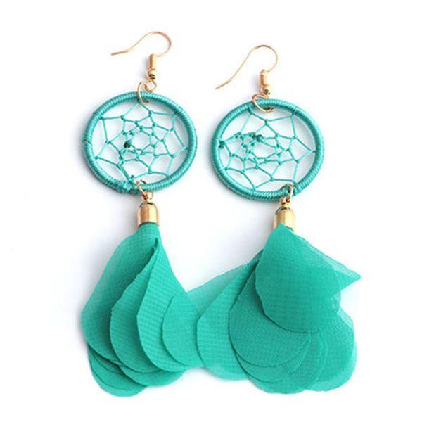Bintage Bohemia cuelga los pendientes de moda Boho Feather Tassel atrapasueños Pendiente de gota para las mujeres joyería cumpleaños regalo de Navidad