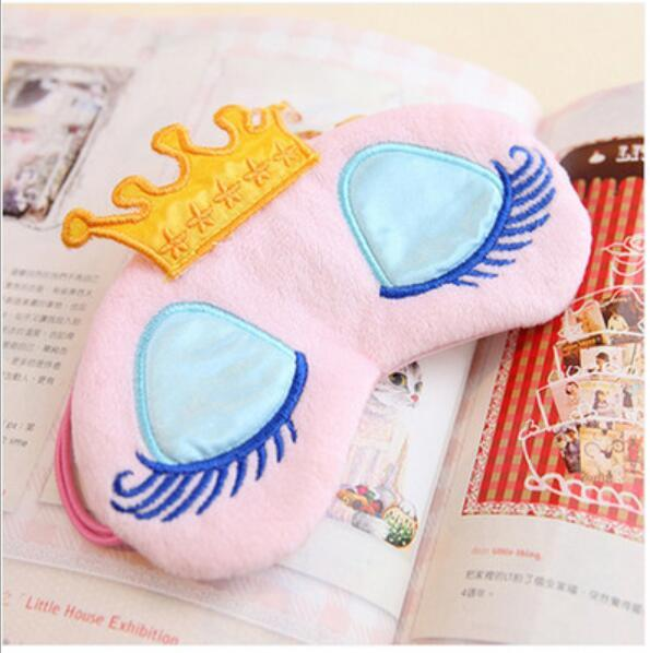 top popular Lovely Pink Blue Crown Sleeping Mask Eyeshade Eye Cover Travel Cartoon Long Eyelashes Blindfold Gift For Women Girls 300Pcs 2019