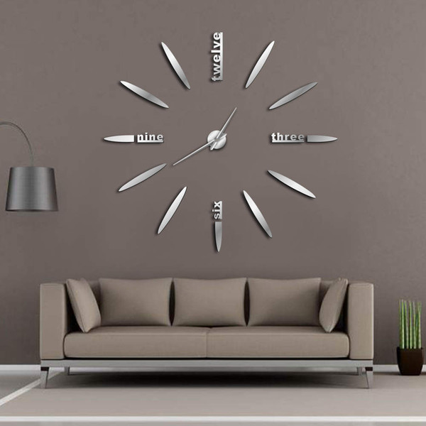 DIY Wall Clock 3D Mirror Wall Clock Large Mute Clocks Wall Stickers for Living Room Bedroom Home Decorations