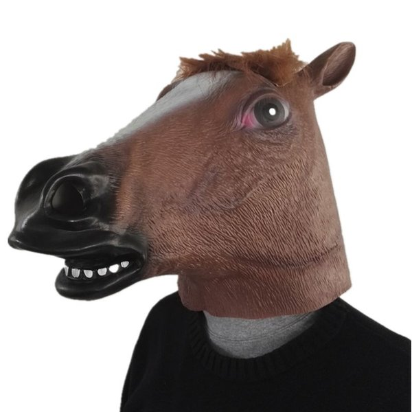 Hanzi_masks Horse Head Latex Animal Mask For Halloween Carnaval Easter Funny clown Horsehead Cosplay Softair Realistic silicone Masks