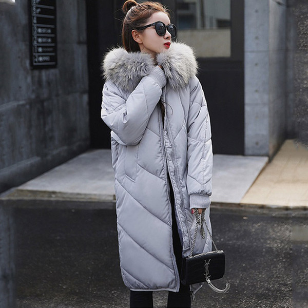 New Women Winter Long Down Coat Big Fur Collar Fashion Female Duck Parkas Jacket Thick Warm Elegant Down Coat Slim Wadded Jacket