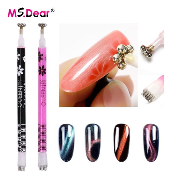 1Pcs Double Head Nail Art Cat Eye Magnet Pen 3D Nail Magnetic UV Gel Polish Cat Eyes Strip Flower Magical Stick DIY Tools