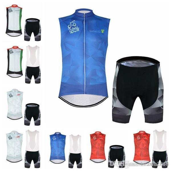 TOUR de DUBAI team Cycling Sleeveless jersey Vest (bib) shorts sets Bicycle Breathable sport wear cycling clothes E0516