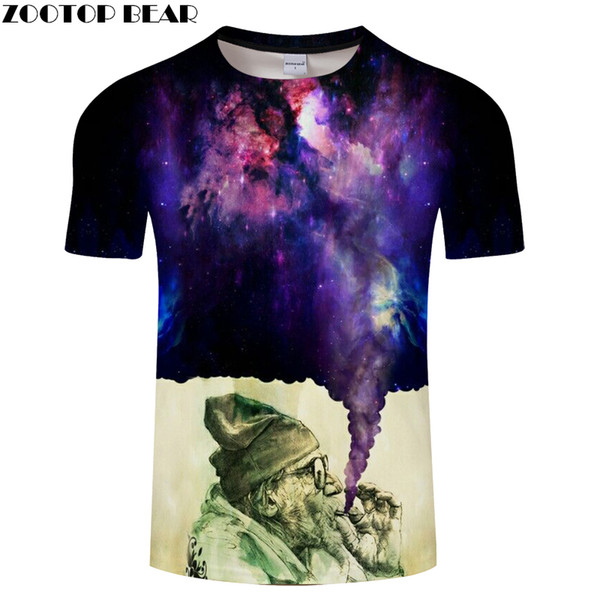Fumar Espaço Glaxy Mens Camisetas 3D Impresso T 2018 Verão O-pescoço Estilo Rua Tops Navio da gota