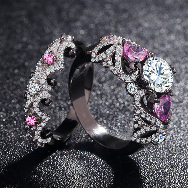 Pink Zircon Stone Black Gold Filled Envolto Wedding Band Promise Anel Conjuntos Mulheres Presente Sz5-11