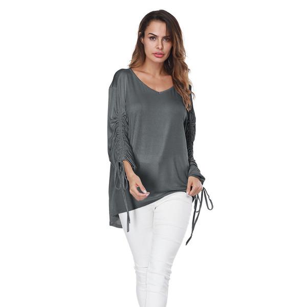 Hot Women T-shirt Ladies Casual V-neck T-Shirts Gray Long Sleeve Loose Tops Women Clothes Summer Fashion