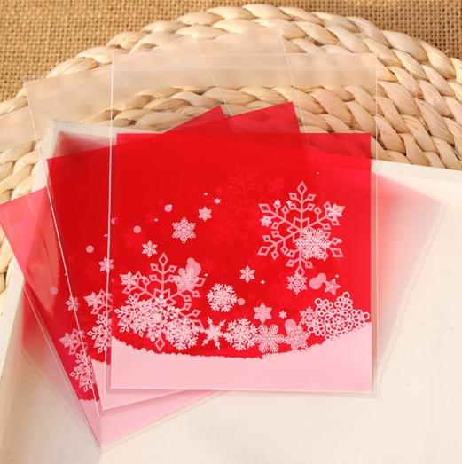 "Bakery Goodies / Small Accessories Cellophane Favor Mini Bags, Gift Packaging, ""Red Snowflakes Print"" 10x13cm 300PCS/LOT"