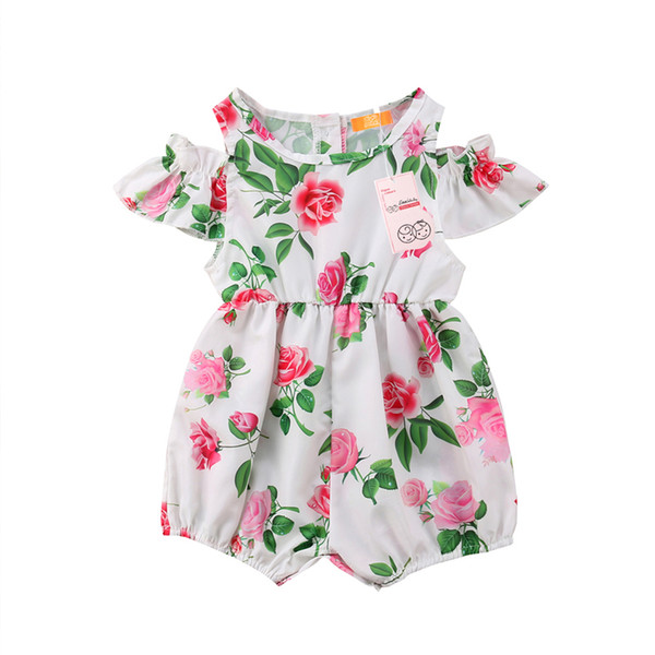 b3463dd690a11 2019 Summer Newborn Baby Girls Rose Floral Off Shoulder Romper Jumpsuit  Sunsuit Outfit Infant Toddler Kids Clothes From Tianjinjoycity, $9.05 | ...