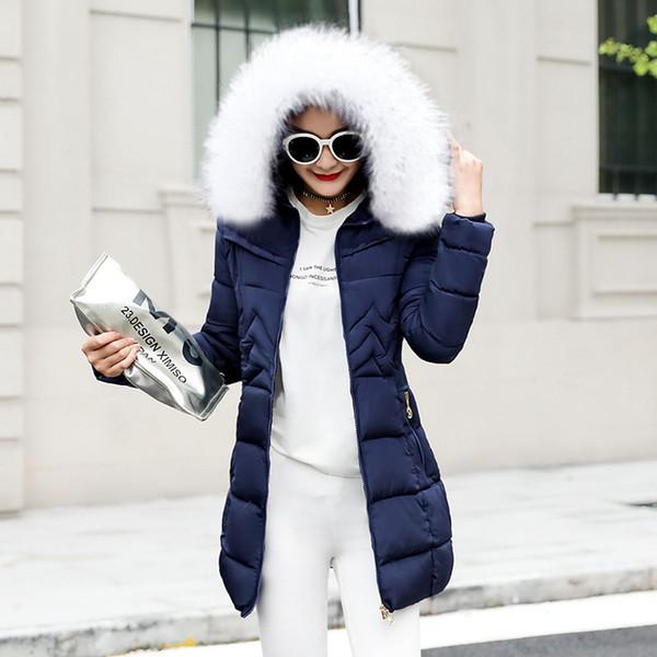 Großhandel Winter Weibliche Lange Jacke 2018 Wintermantel Frauen Gefälschte Pelzkragen Warme Frau Parka Oberbekleidung Daunenjacke Winterjacke Frauen