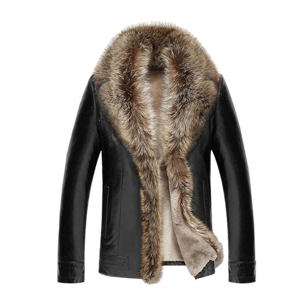 2018 Winter Fur Leather Jacket Men Fashion Warm Leather Jacket Men Lapel Cashmere Male Thick Motorcycle Coat 4XL 5XL 50