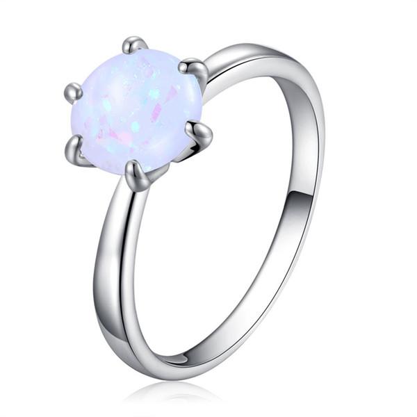 Korean style women big diamond rings luxury 8mm opal gemstone ring 18k white gold wedding rings jewelry