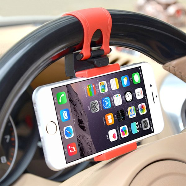 Car Phone Holder Flexible Steering Universal Wheel Mount For Iphone 7/6s Car Kit Holder For Samsung S5/S4/S3 Phone Accessories