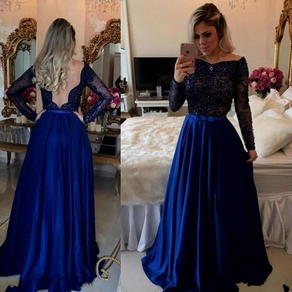Royal Blue Prom Dresses Long Sleeve Beaded Affordable Evening Dresses Uk Sexy Deep V Back Bow Sash Holiday Summer Party Gowns