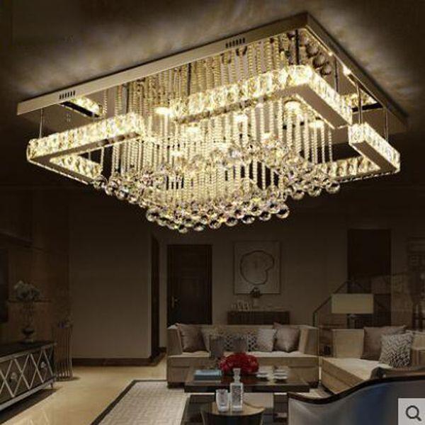 Großhandel Rechteckige Wohnzimmer Lampe Führte Kristall Lampe Decke  Modernen Minimalistischen Atmosphärischen Schlafzimmer Esszimmer Lampen LED  ...