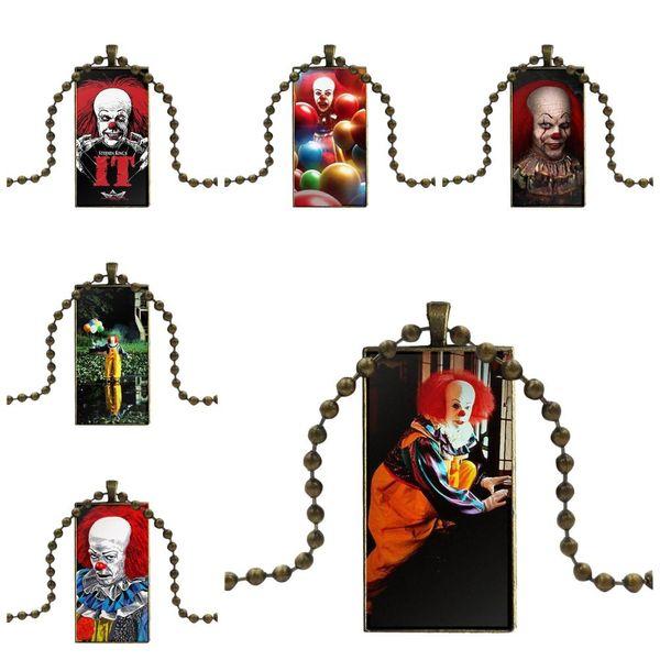 EJ Glaze For Women Wedding Glass Pendant Necklace Handmade Half Pendant Rectangle Necklace Pennywise