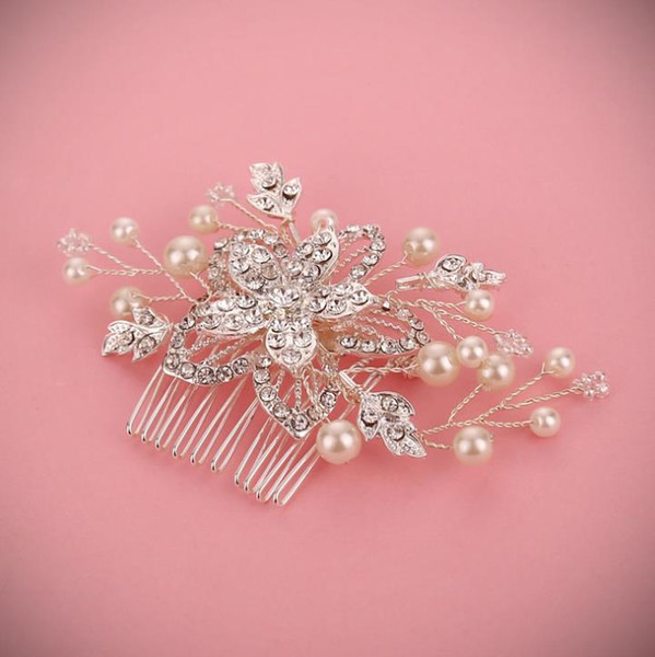 Exquisite handcrafted diamond, flower comb, head ornament, crystal pearl accessories, bridal ornaments