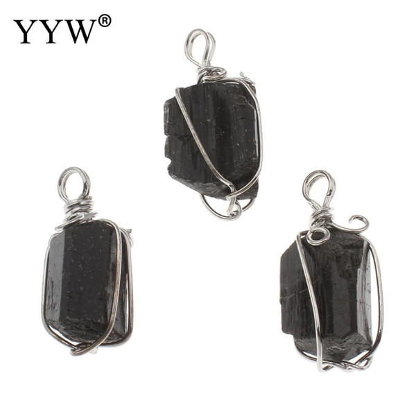 Tourmaline Pendant With Zinc Alloy Plated Black Stone Necklace Pendant Beads 17x33x15 -15 .5x34 .5x14 .5mm 10pcs