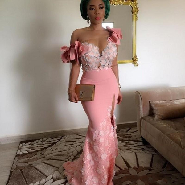 2018 Pink Mermaid Prom Dresses African Strapless One Shoulder Illusion 3D Flowers Lace Applique Middle East Split Party Evening Gowns Wear
