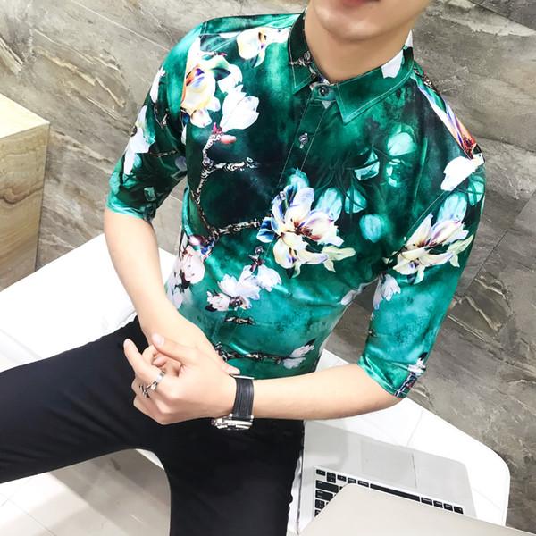 Hombres cómodos camiseta de verano 2018 de vestido de impresión del ajustado de los hombres camisas manga de la mitad Turn Down cuello smoking camisa de los hombres Ropa