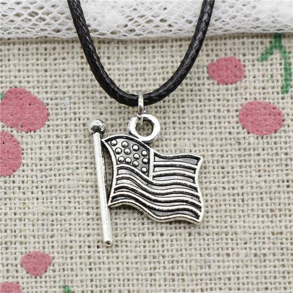 New Fashion Tibetan Silver Pendant usa flag 12mm Necklace Choker Charm Black Leather Cord Handmade Jewelry