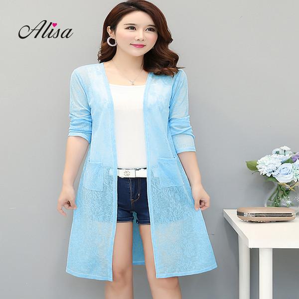 Frauen Sommer Langarm dünne Jacke Oversize Solid Lace Medium lange offene Stich große Größe 4xl weibliche beiläufige Net Garn Schal Mantel