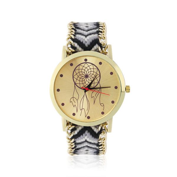 Colorful Ethnic Women Rope Quartz Bracelet Watch Hand-woven DIY Watch Fashion Hot Selling