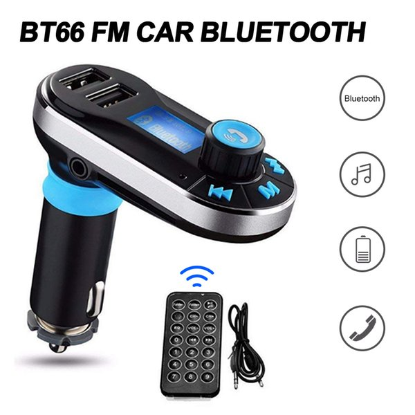 Bluetooth FM Transmitter BT66 Radio Adapter LCD Car Kit Display Support TF and SD Cards and USB Car Charger for All Smartphone in Box