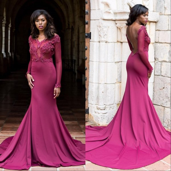 Plum Elegant Long Sleeves Mermaid Evening Dresses 2018 Sheer Jewel Neck Open Back Sweep Train Lace Appliqued Plus Size Prom Gowns
