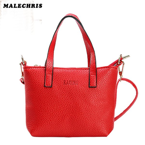 Women Bags Handbags Fashion Shoulder Bag Red Color PU Litchi Model Ladies Phone Small Square Bags