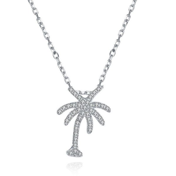 Sterling Silver 925 Necklace Lady Party Jewelry Pure Silver Tree Pendant Necklace With Zircon Free Shipping n076