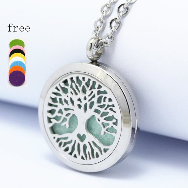 2017 New Tree of Life 25/30mm Magnet Diffuser 316 Stainless Steel Aroma Essential Oil Diffuser Lockets Pendant Necklaces