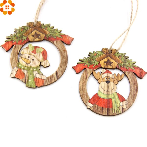 10PCS Creative Christmas Wooden Pendants Ornaments Xmas Tree Ornaments DIY Wood Crafts Christmas Party Decoration Kids Gift
