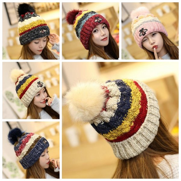 Pom Pom Hat Women Little Bee Embroidery Beanies Winter Thick Warm Faux Fur Ball Hats Ladies Womens Beanies hat KKA6208