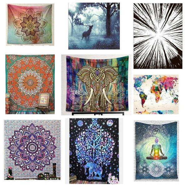 best selling 150*130cm Tapestries 2018 summer Bohemian Mandala Beach Towel blanket folk-custom Yoga Mat Elephant print Shawl Bath Towel 40 colors C4281