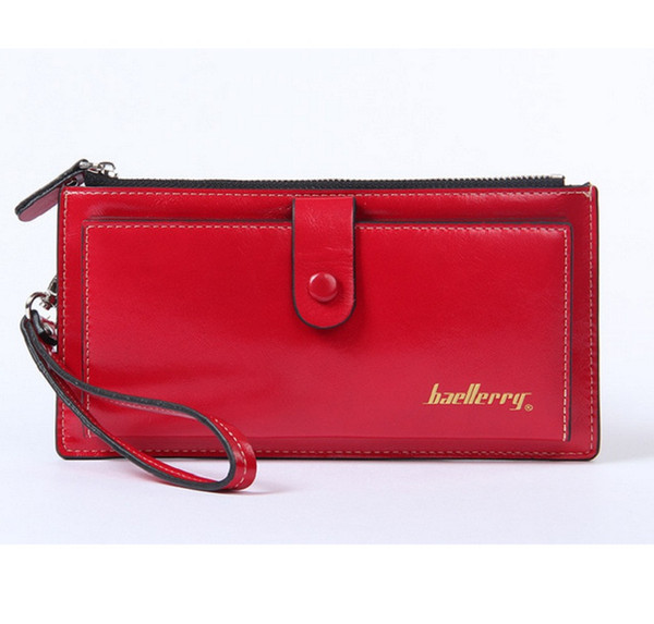 Baellerry Ladies Purse Hasp Bright Skin Long Thin Wax Leather Wallet Women's Functional Card Holder Passport Cover Phone Pocket