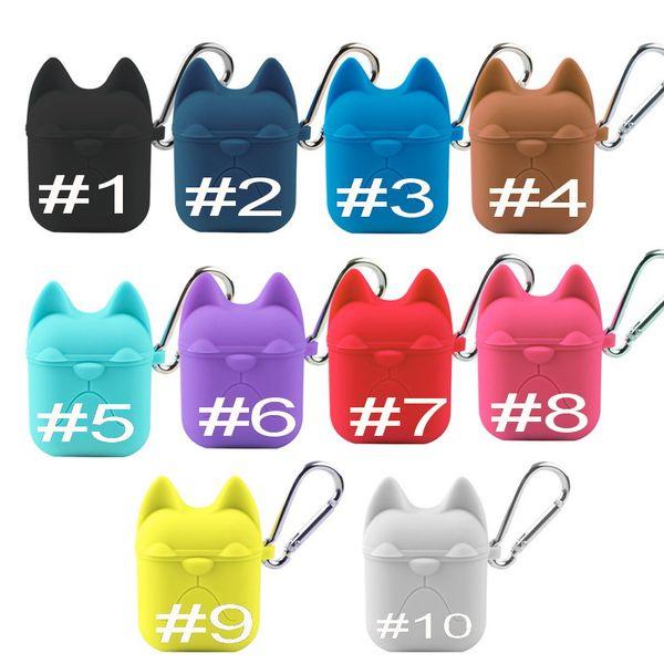 Funda de silicona bulldog para Apple Airpods Auricular Cubierta de caramelo linda Protector de Color caramelo con bolsa de gancho para Air Pods