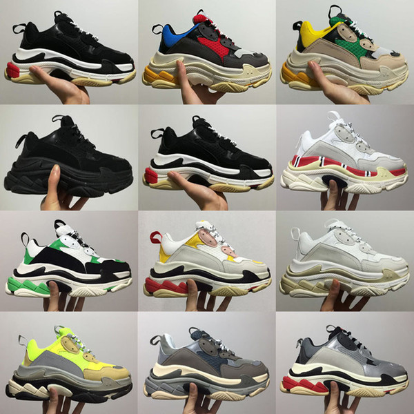 2017 New Unveils New Triple-S 17FW Casual Shoe Man Woman High Quality Mixed Colors Thick Heel Grandpa Casual Shoes size 35-45